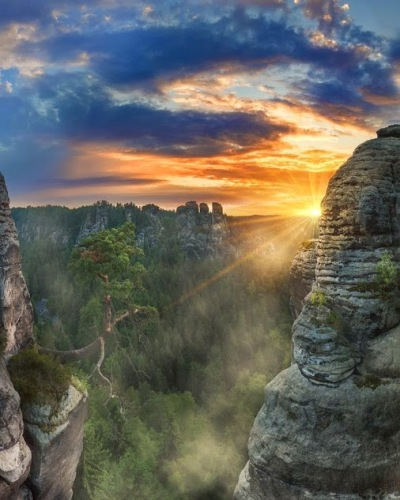 Fog in morning hours in Elbe Sandstone Mountains, Saxony, Germany by Jens Böhme