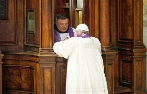 Pope Francis going for Confession
