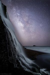 Alamere Falls and Milky Way - California by Rick Whitacre