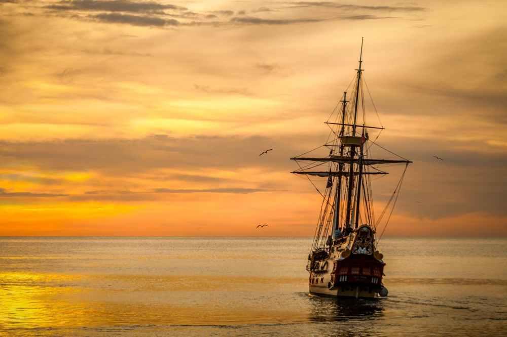 sunset ship boat sea